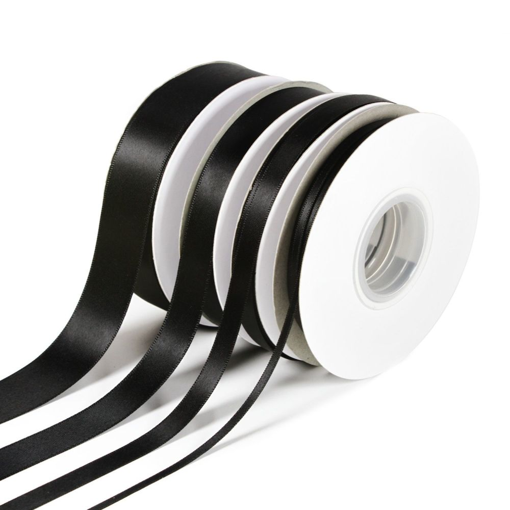 5 Metres Quality Double Satin Ribbon 6mm Wide - Black