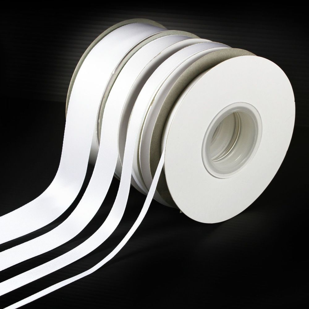 5 Metres Quality Double Satin Ribbon 6mm Wide - White