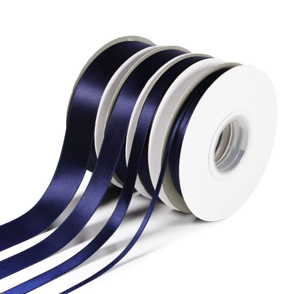 5 Metres Quality Double Satin Ribbon 6mm Wide - Navy Blue