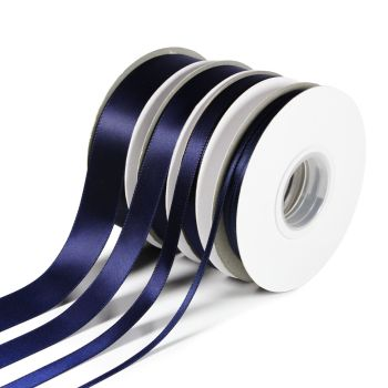 5 Metres Quality Double Satin Ribbon 10mm Wide - Navy Blue