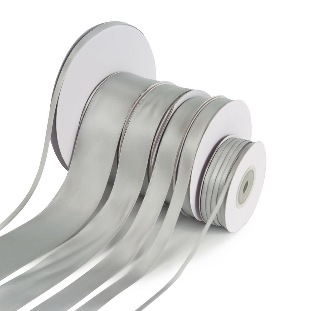 5 Metres Quality Double Satin Ribbon 6mm Wide - Silver Grey