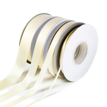 5 Metres Quality Double Satin Ribbon 10mm Wide - Ivory