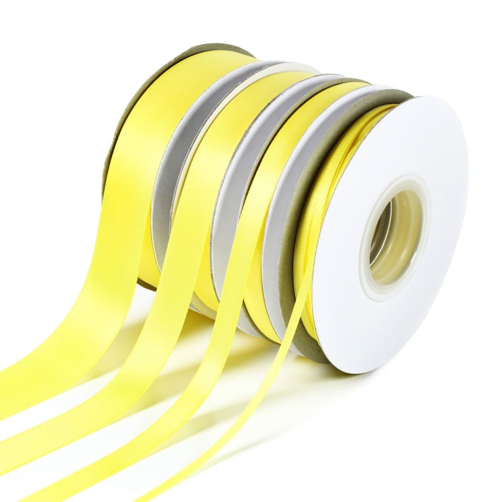 5 Metres Quality Double Satin Ribbon 6mm Wide - Yellow