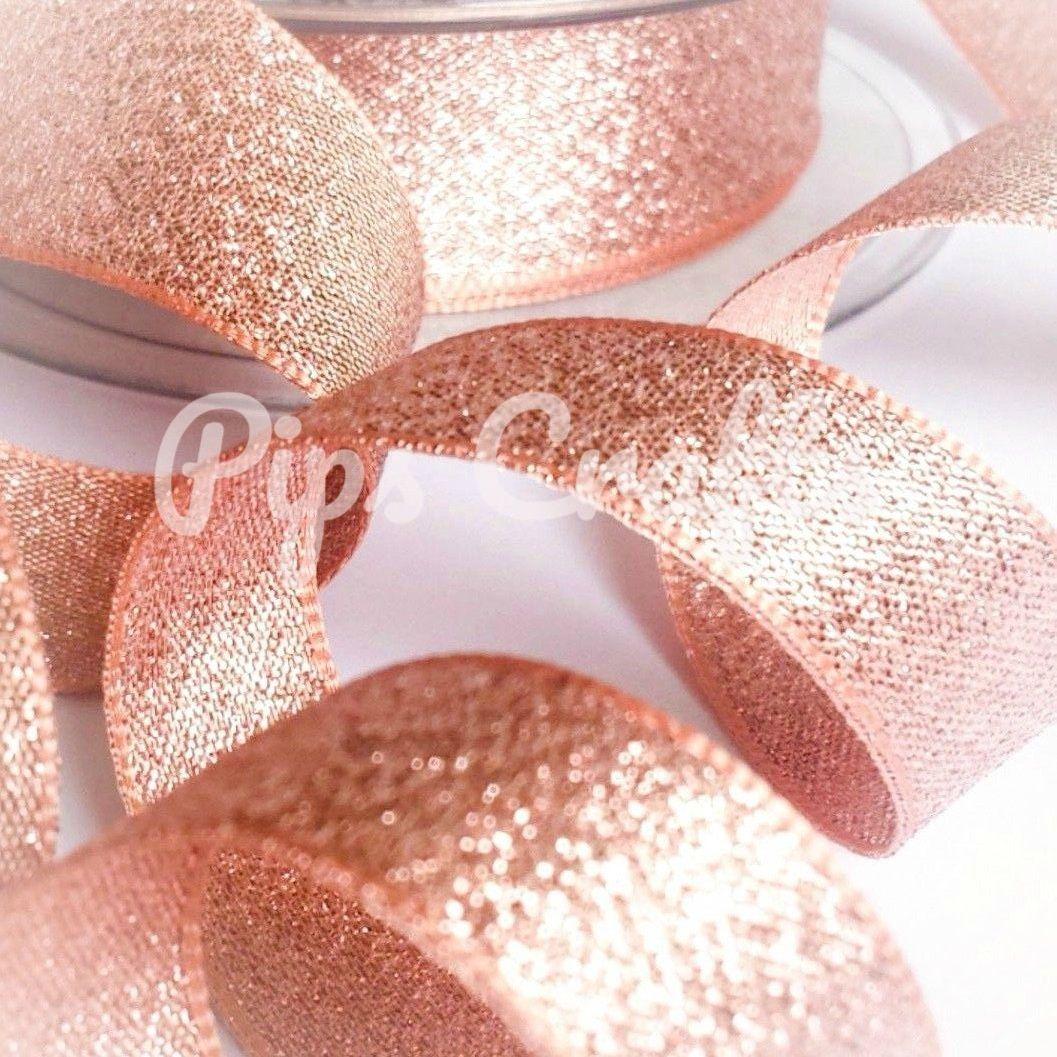 Berisfords Rose Gold Sparkly Metallic Lame Ribbon 25mm