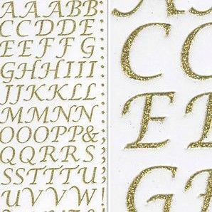 Sparkly Glitter Alphabet Stickers - Gold