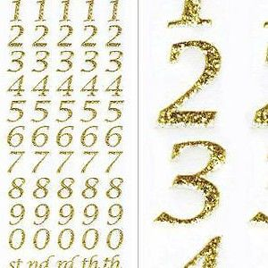 Sparkly Glitter Number Stickers - Gold