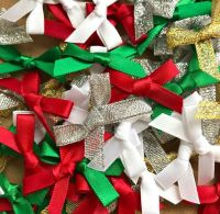 Mini Satin Fabric 7mm Ribbon Bows - Christmas Mix