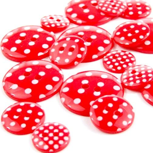 Round Spotty Buttons Size 24 - Red & White
