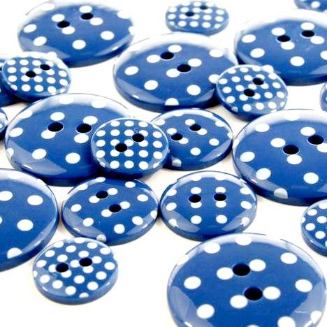Round Spotty Buttons Size 24 - Royal Blue & White