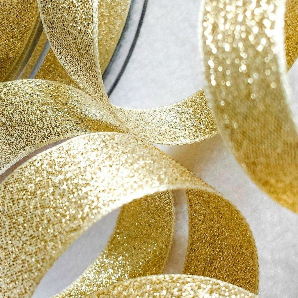 Berisfords Gold Sparkly Metallic Lame Ribbon 15mm