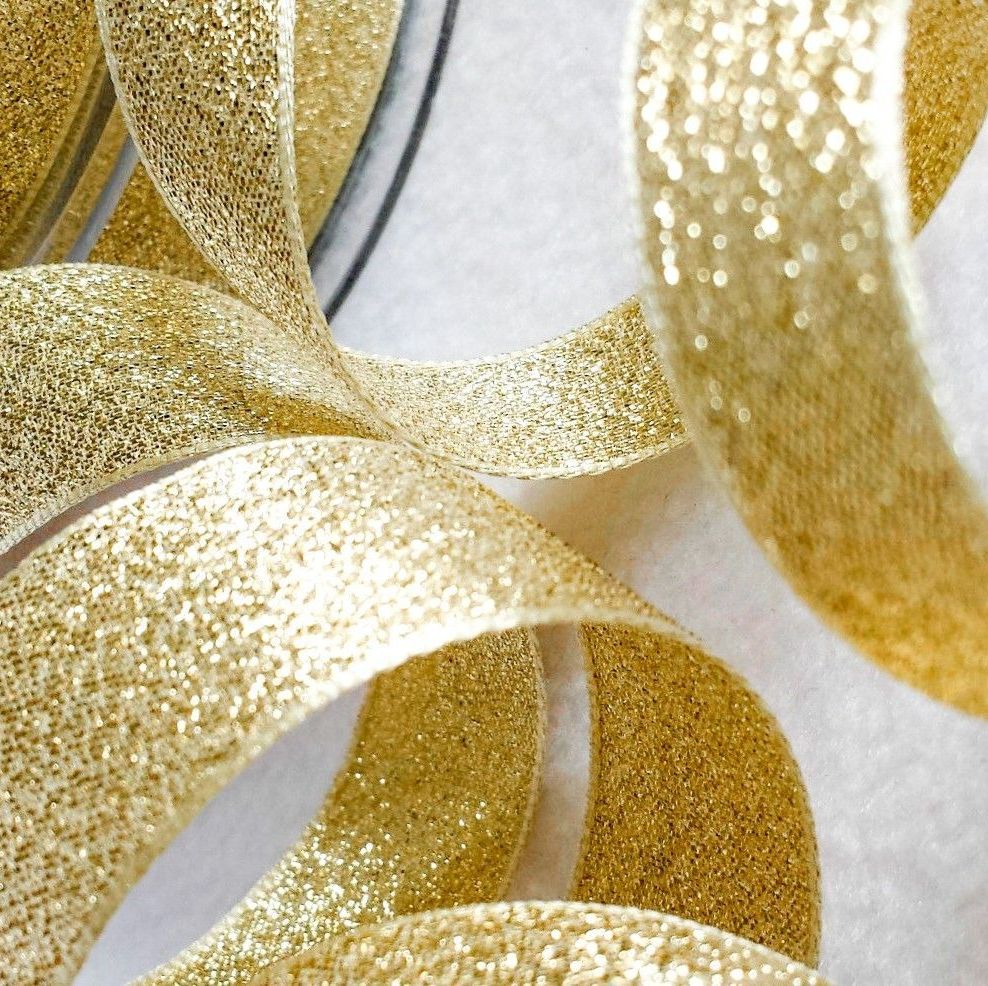Berisfords Gold Sparkly Metallic Lame Ribbon 25mm