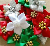 Satin Ribbon Poinsettia Flowers With Pearl Centre 4cm - Christmas Mix