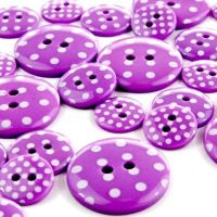 Round Spotty Buttons Size 28 - Purple & White