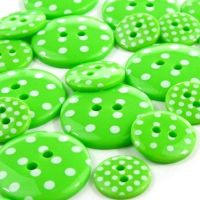 Round Spotty Buttons Size 28 - Emerald Green & White