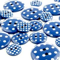 Round Spotty Buttons Size 28 - Royal Blue & White