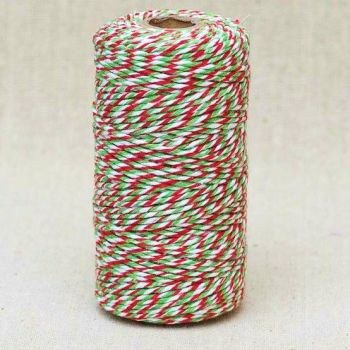 2mm Wide Bakers Twine - Candy Cane