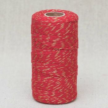 2mm Wide Bakers Twine - Red & Gold