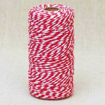 2mm Wide Bakers Twine - Red & White