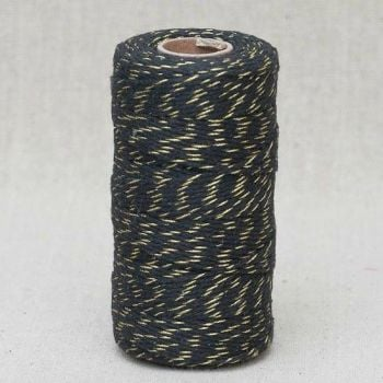 2mm Wide Bakers Twine - Black & Gold
