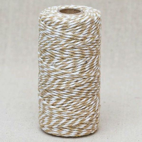 2mm Wide Bakers Twine - Natural/White