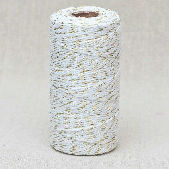 2mm Wide Bakers Twine - White & Gold