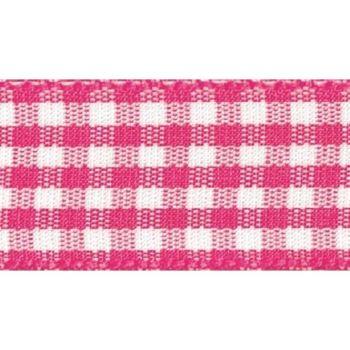 Berisfords 5mm Wide Gingham Ribbon - Shocking Pink