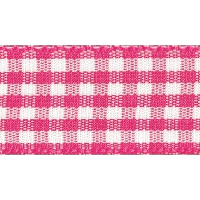 Berisfords 5mm Wide Gingham Ribbon - Shocking Pink