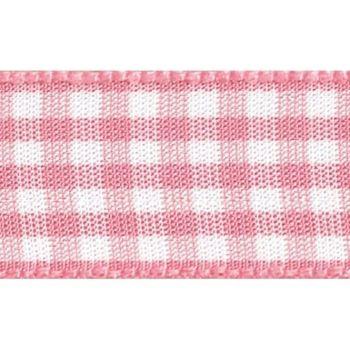Berisfords 5mm Wide Gingham Ribbon - Rose Pink