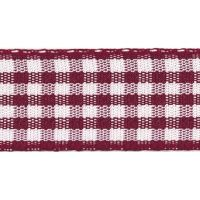 Berisfords 5mm Wide Gingham Ribbon - Burgundy