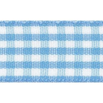 Berisfords 5mm Wide Gingham Ribbon - Sky Blue