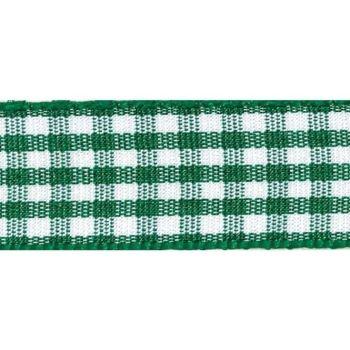 Berisfords 5mm Wide Gingham Ribbon - Hunter Green