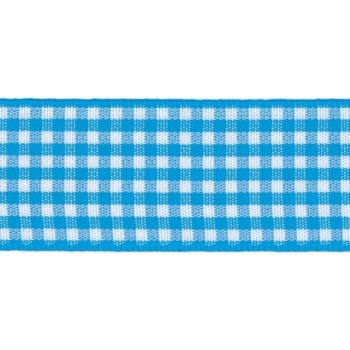Berisfords 5mm Wide Gingham Ribbon - Peacock Blue