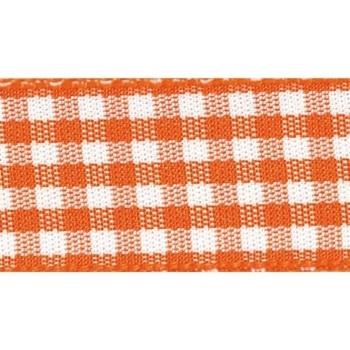 Berisfords 5mm Wide Gingham Ribbon - Orange Delight