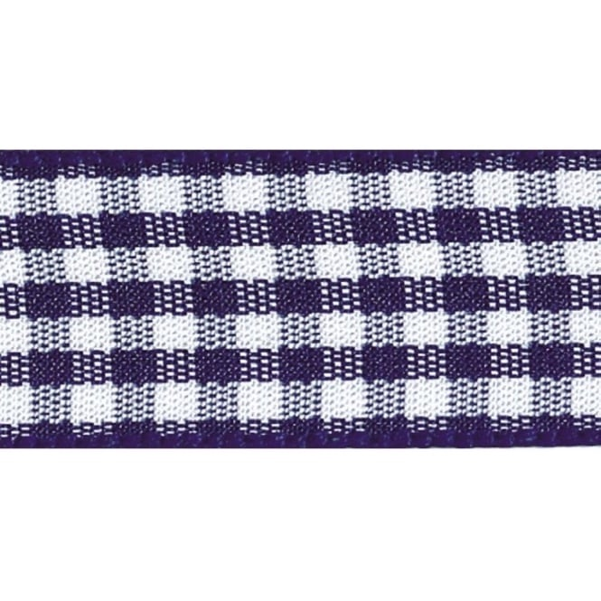 Berisfords 5mm Wide Gingham Ribbon - Navy Blue