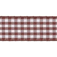 Berisfords 5mm Wide Gingham Ribbon - Brown