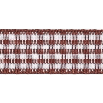 Berisfords 5mm Wide Gingham Ribbon - Brown