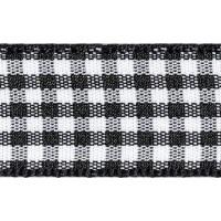 Berisfords 10mm Wide Gingham Ribbon - Black