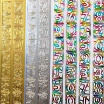 Stained Glass Style Numbers Peel Off Sticker Sheet