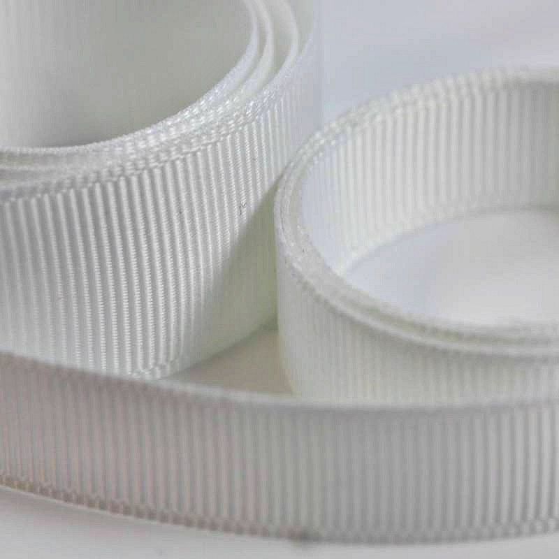 5 Metres Quality Grosgrain Ribbon 10mm Wide - White