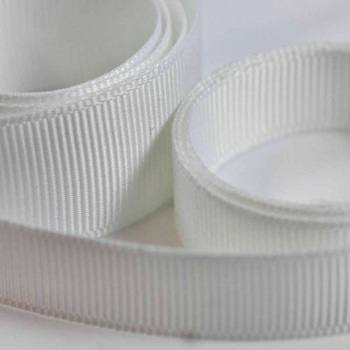 5 Metres Quality Grosgrain Ribbon 15mm Wide - White