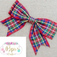25mm Luxury Tartan Double Bows - Red