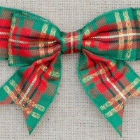 25mm Luxury Tartan Double Bows - Green