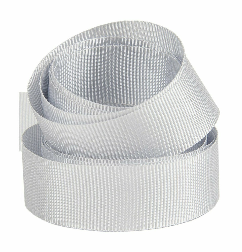 5 Metres Quality Grosgrain Ribbon 25mm Wide - Silver Grey