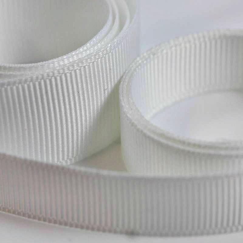 5 Metres Quality Grosgrain Ribbon 40mm Wide - White