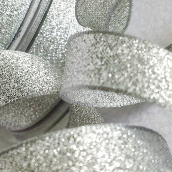 Berisfords Silver Sparkly Metallic Lame Ribbon 25mm