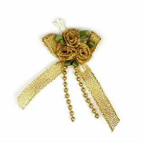 Satin Ribbon Rose Triple Cluster Bows - Gold Lurex