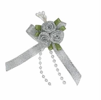 Ribbon Rose Triple Cluster Bows - Silver Lurex