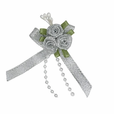 Satin Ribbon Rose Triple Cluster Bows - Silver Lurex