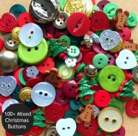 100 Assorted Deluxe Christmas Buttons