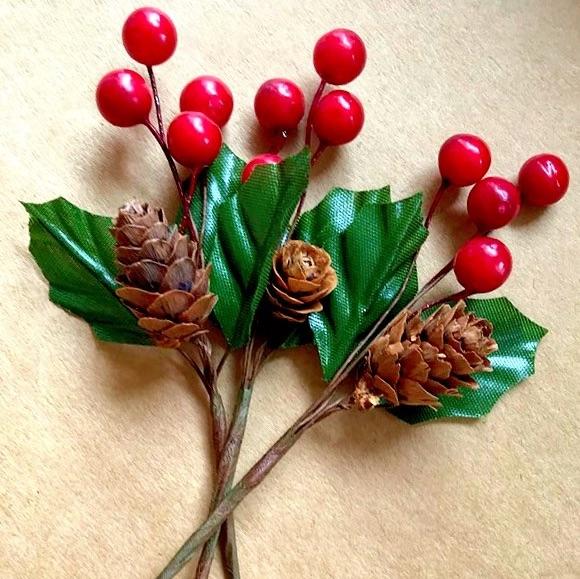 Double Holly, Berry & Pine Cone Sprays - 13cm